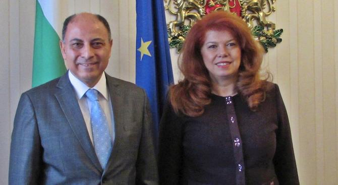 Мира в Близкия изток и бежанската криза обсъдиха вицепрезидентът Илияна Йотова и посланикът на Египет