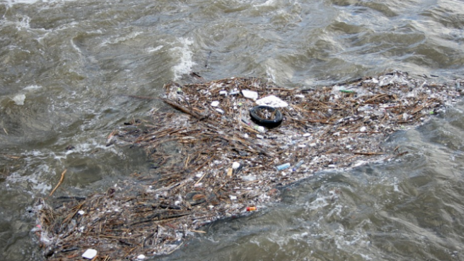 Служител на фирма за почистване на септични ями изсипва товара си в река Искър