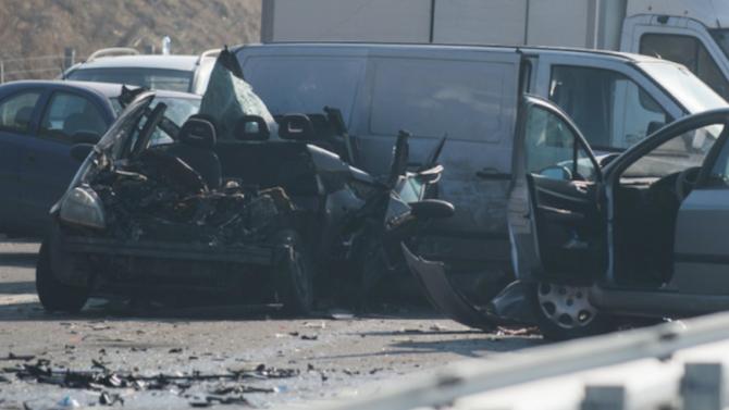 "Верижна катастрофа на автомагистрала ""Тракия"" е станала преди минути между"