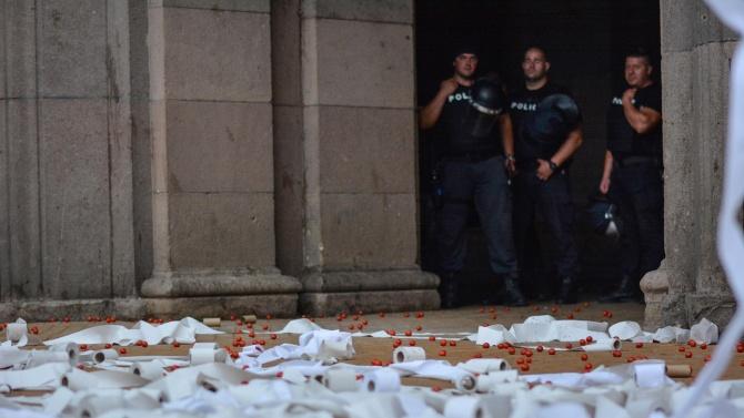 Полицията пусна кадри от протеста в София снощи