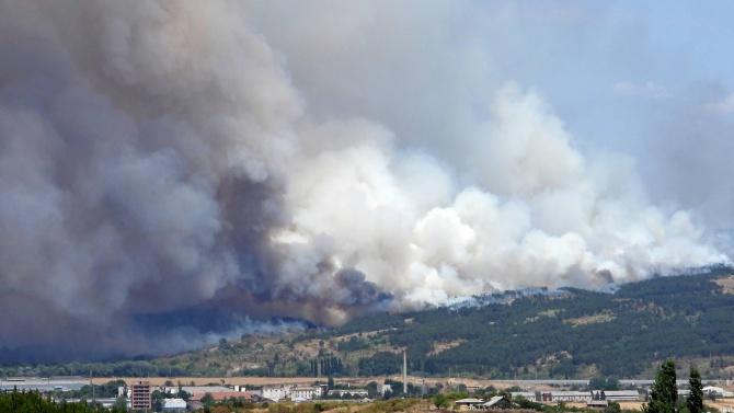 """Затвориха магистрала """"Марица"""" заради пожара в Харманлийско"""