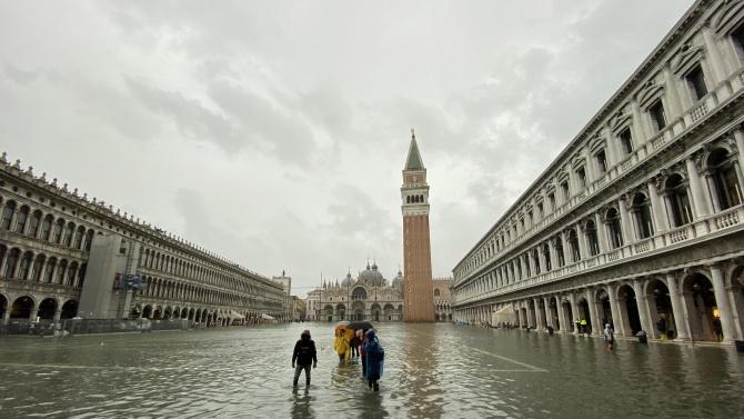 Защитната система на Венеция за наводения се задейства