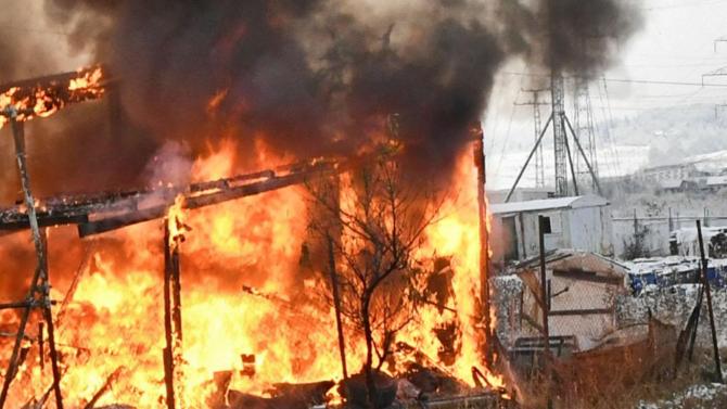Труп след пожар на гробищата в Лясковец