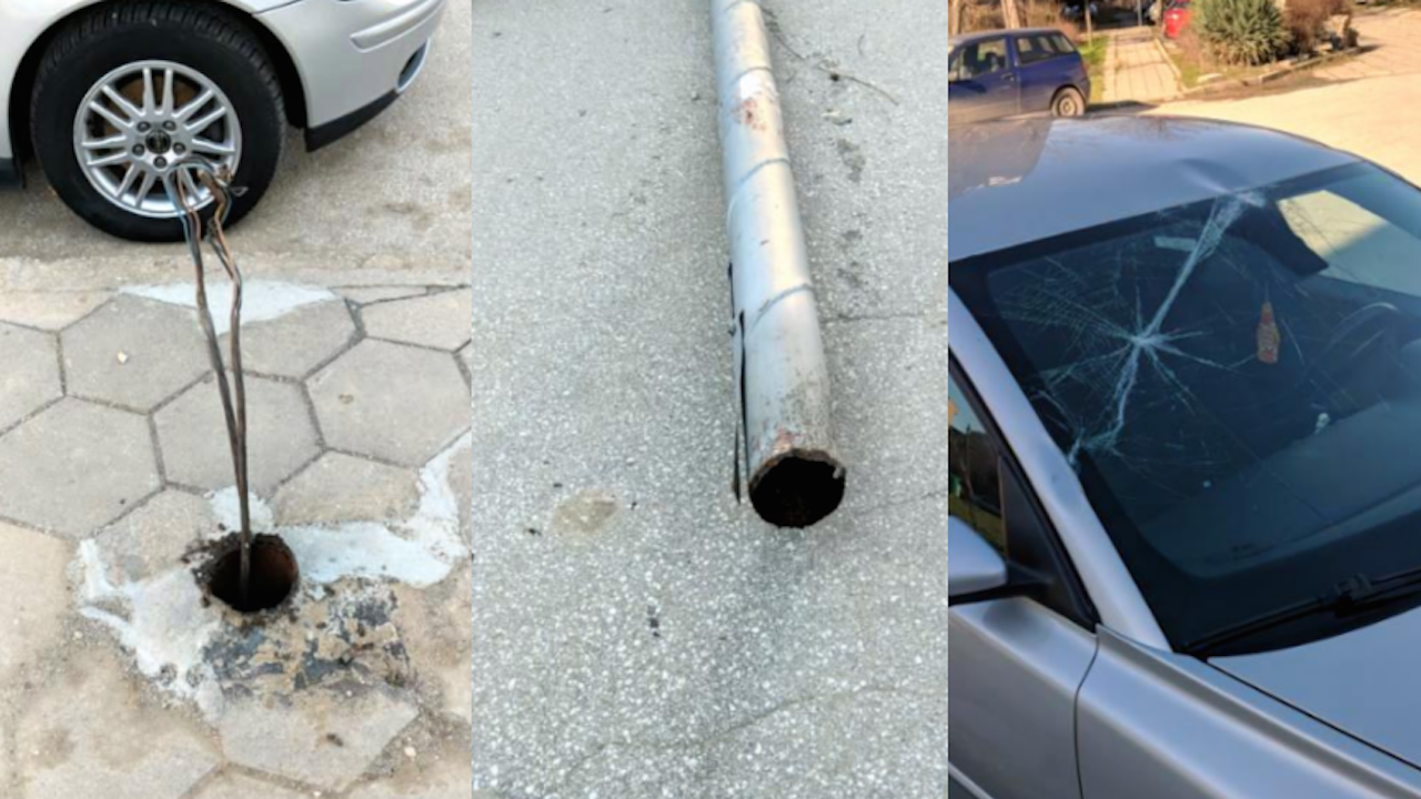 Заради вятъра електрически стълб падна върху паркиран автомобил в Пловдив