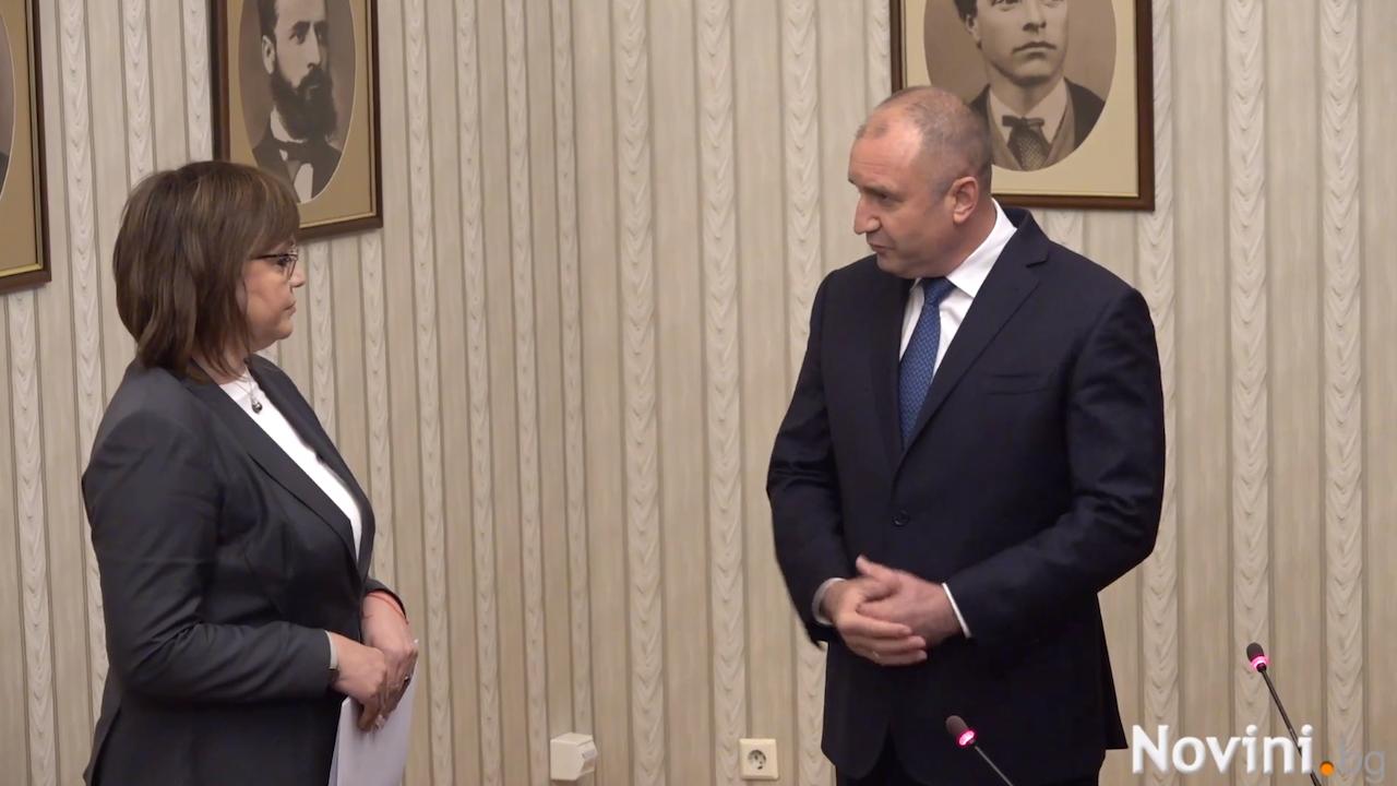 Корнелия Нинова върна мандата на Румен Радев, той ѝ пожела успех на изборите