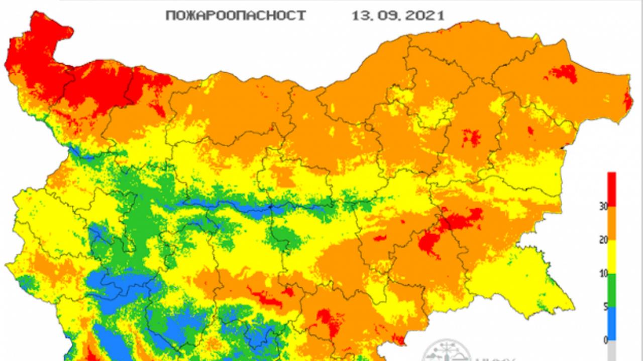 Екстремален индекс за пожароопасност в 13 области на страната